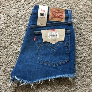 LEVI'S 501 Cut Off Mid Rise Jean Shorts 28 $50